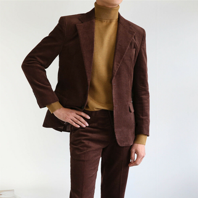 2020 Fashionable Brown Corduroy Suits For Men Peak Lapel With Matching Pant 2 Pieces One Button Formal Wear