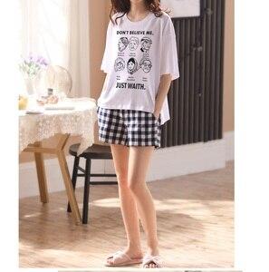 Image 3 - Kobiety dziewczęta odzież domowa ubrania z krótkim rękawem letnie sprawdzone zestawy piżamowe chusta bawełniana bielizna nocna salon O neck odzież wewnętrzna
