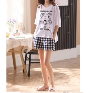 Image 3 - Women girls Home wear clothes short Sleeve summer checked Pajamas Sets plaid Cotton Sleepwear Lounge O neck indoor clothing