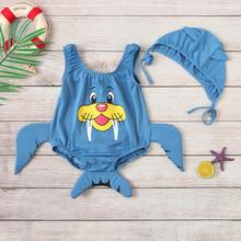 Dziewczynek chłopców stroje kąpielowe niemowlę dziecko 3D Cartoon stroje kąpielowe strój kąpielowy dla dzieci letnie bikini czepek stroje zestaw 12M-5Year tanie tanio MUQGEW Poliester Unisex Pasuje prawda na wymiar weź swój normalny rozmiar Stałe