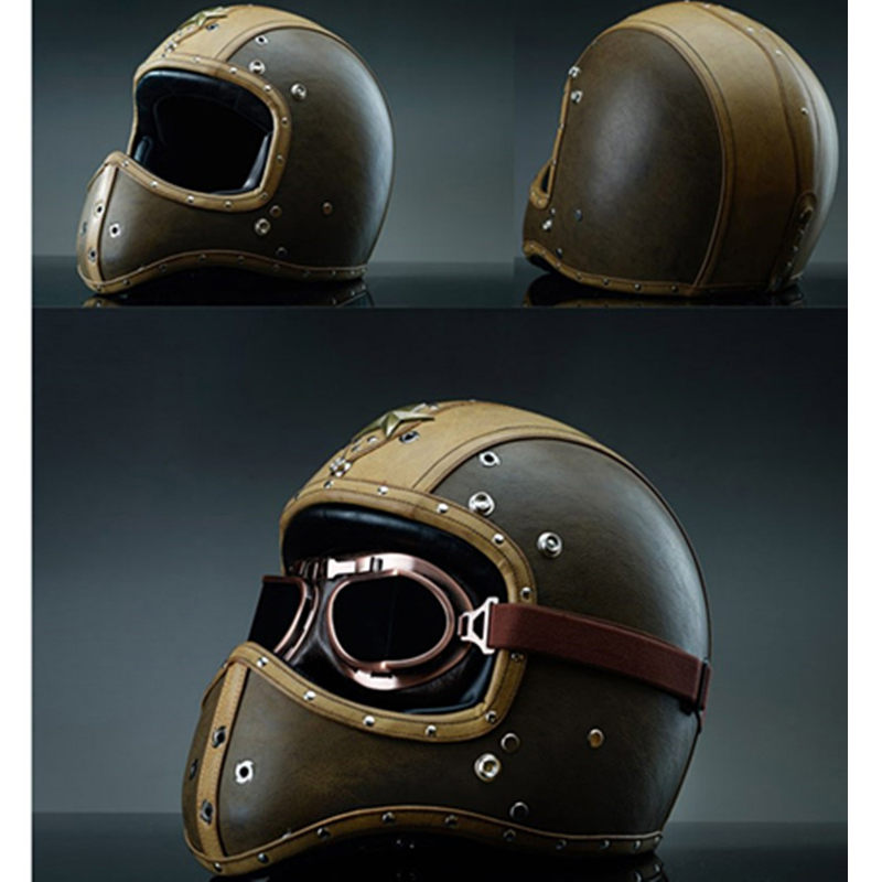 Новый синтетический кожаный мотоциклетный шлем Ретро винтажный крейсер для чоппера и скутера кафе гонщик Мото шлем полный шлем Точка Dot
