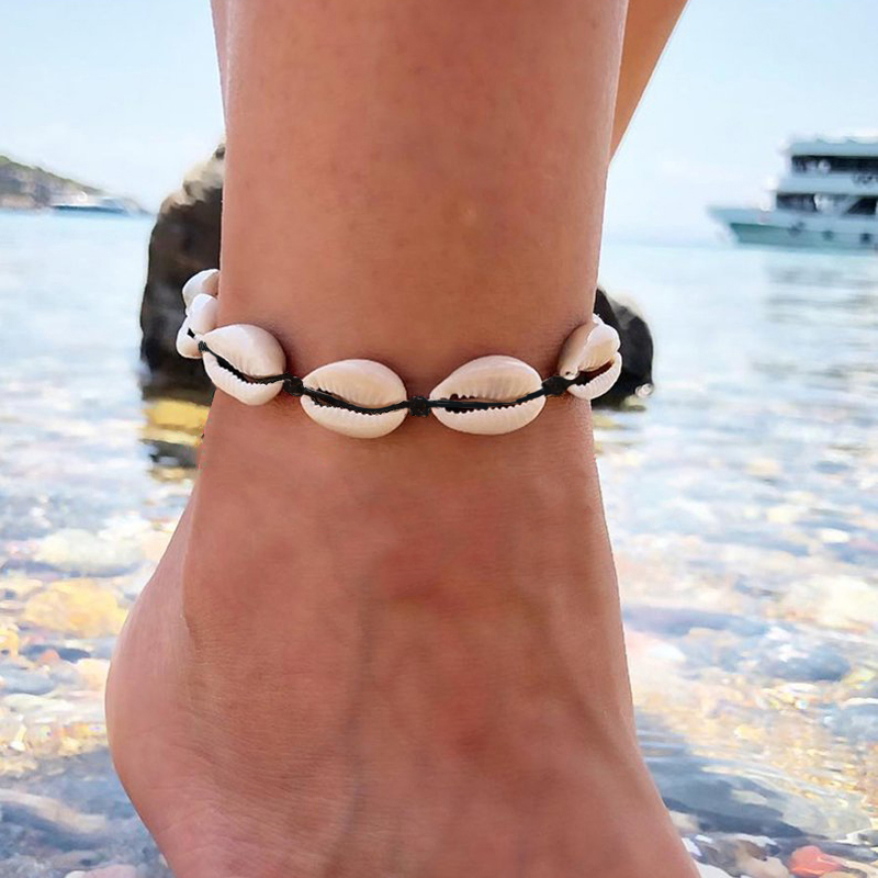 Bohemian Shell Starfish Turtle Beads Anklets for Women Vintage Boho Seashell Rope Chain Multiplayer Anklet Beach Jewelry