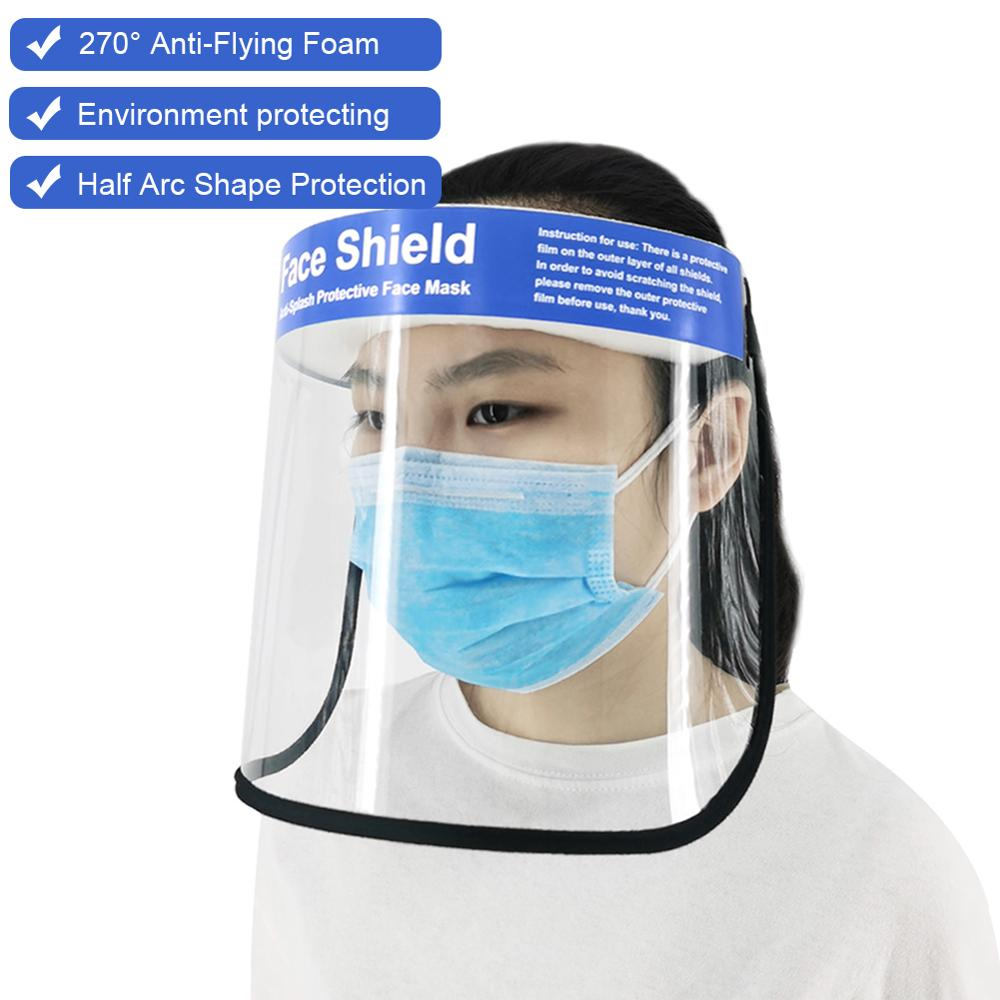 Reusable Transparent Protective Face Shield Mask Dust-Proof Oil-Proof Anti-Splash Face Protection Mask Wholesale Dropshipping