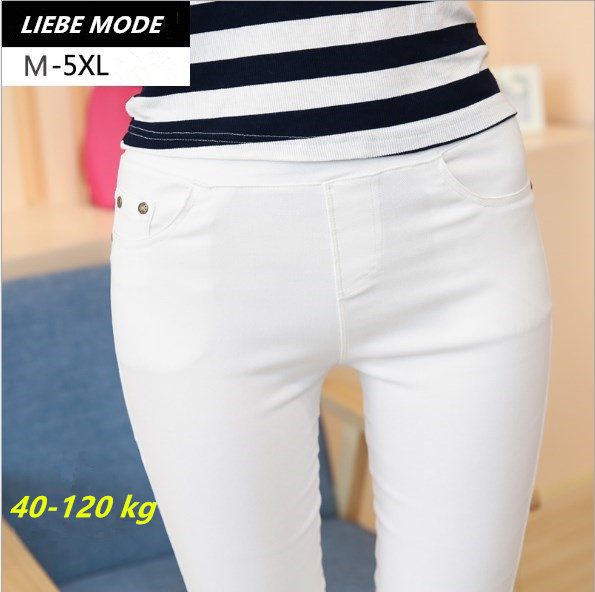 Plus Size Spring Autumn Black Blue White Leggings Women Ankle Length Jeggings Skinny Pants Capris Womens Legging Pockets 5XL 6XL