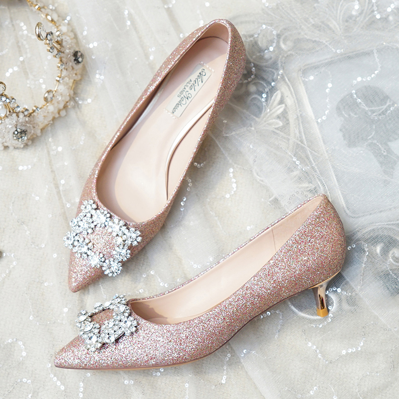 Wedding Shoes 2019 New Bride Shoes Low Heel Pregnant Women Bridesmaids High Heels Princess Wedding Square Buckle Crystal Shoes