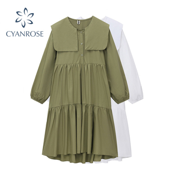 2020 Women Autumn Long Shirt Dresses Casual Loose Long Sleeve Fashion Elegant Office Lady Work Maxi Dresses Cotton Streetwear 1