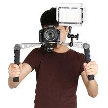 Estabilizador de mão dupla, suporte para câmera, câmera, sony, canon, nikon, panasonic, pentax, suporte de ombro, acessórios para câmera