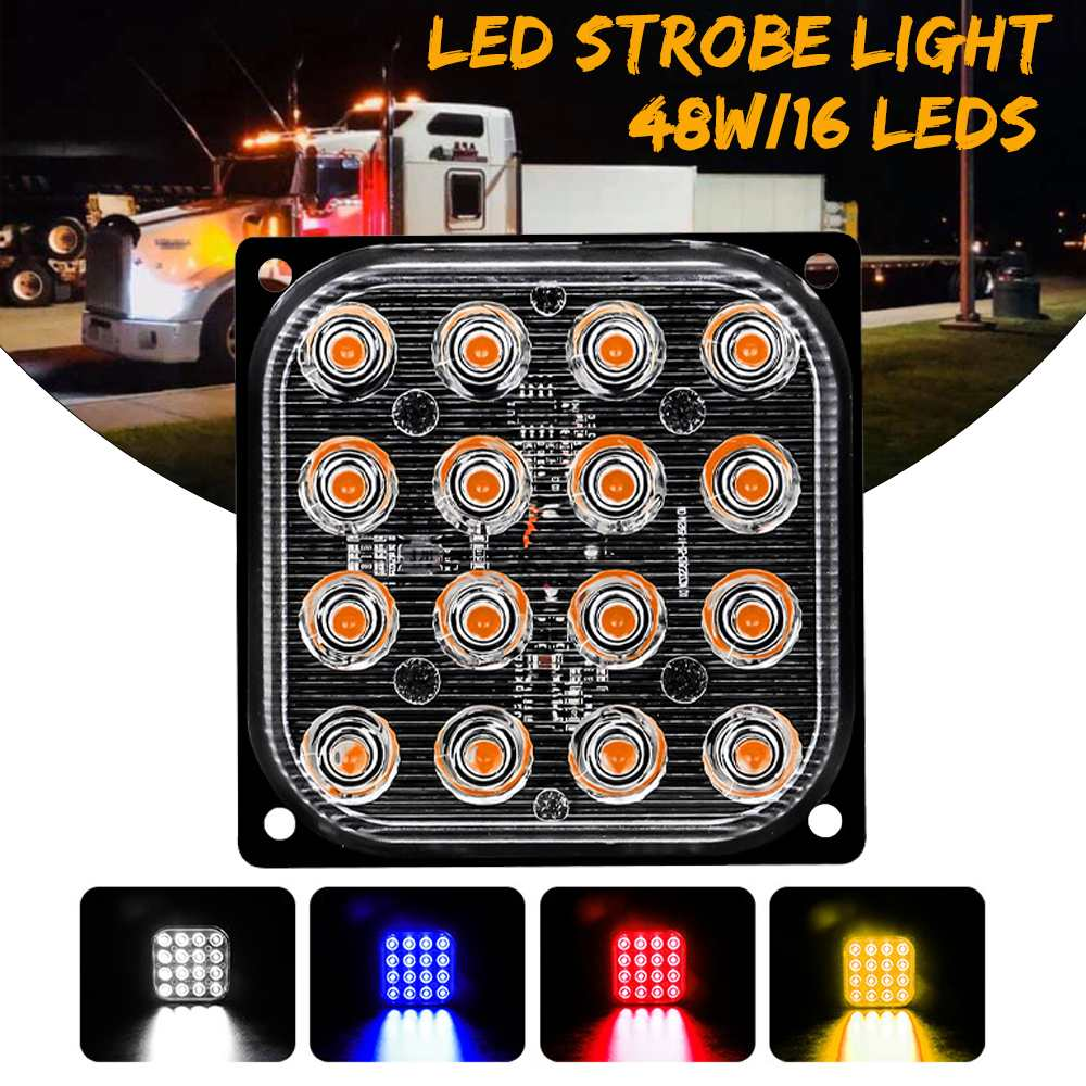 48W 16 LEDs Strobe Light Police Lights Warning Flash Waterproof Aluminum Emergency Light Bar For Cars Lorries Trucks Motorcycles