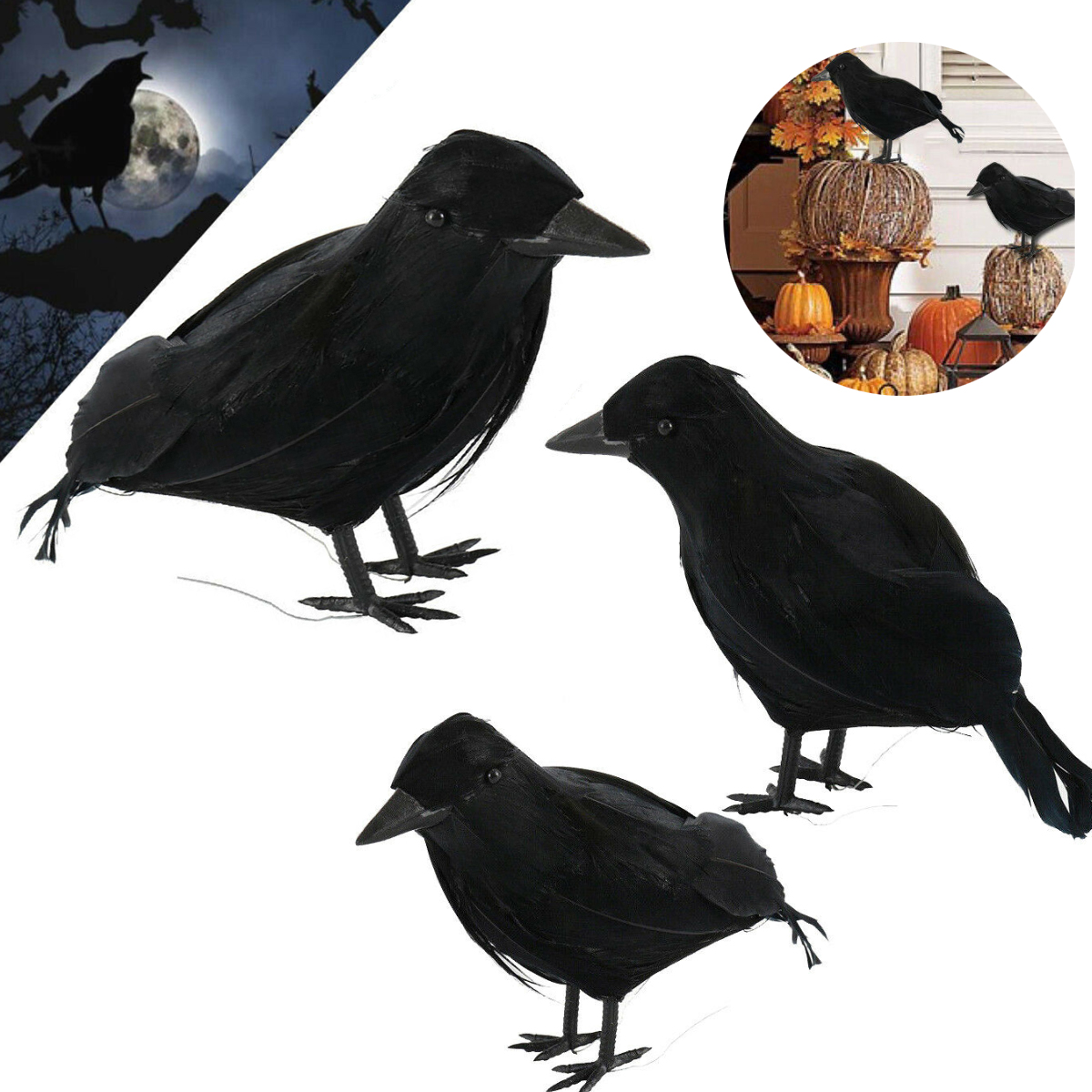 2019 NEW Halloween Display Event Black Plastic Crow Hunting Decoy Garden Yard Bird Repeller Decoration Supplies Gift