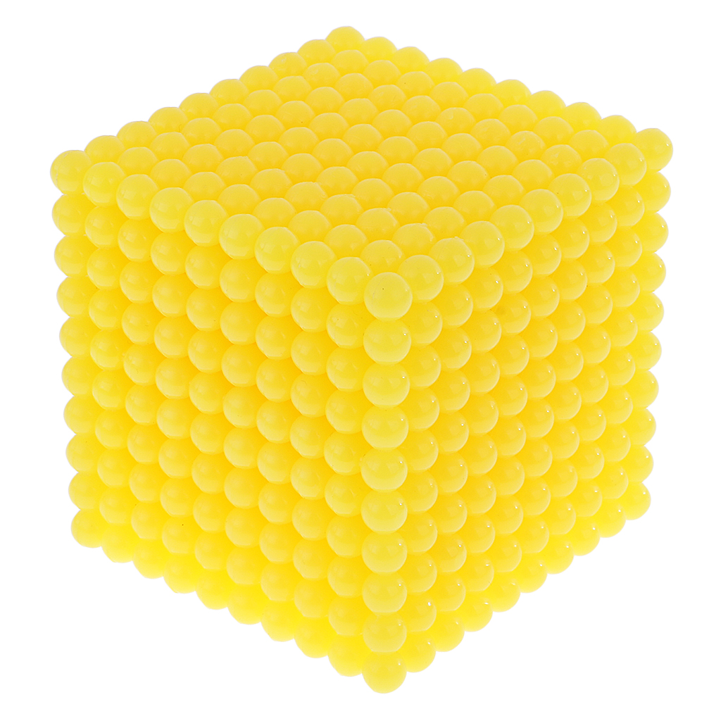 Plastic Thousand Beads Cube 8cm Yellow Montessori Mathematics Toy Xmas Gift