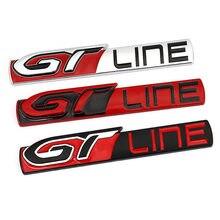 Gt linha etiqueta do carro de metal emblema decalque distintivo para peugeot gt rcz 508 3008 5008 kia forte optima picanto sorento renault megane