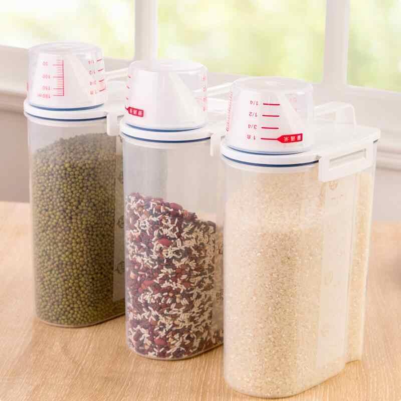 1PCS 2L Plástico Caixa De Armazenamento De Cozinha Dispensador De Cereais de Grãos de Alimentos Recipiente de Arroz Cozinha Agradável WF712312 armazenamento de grãos de farinha de arroz