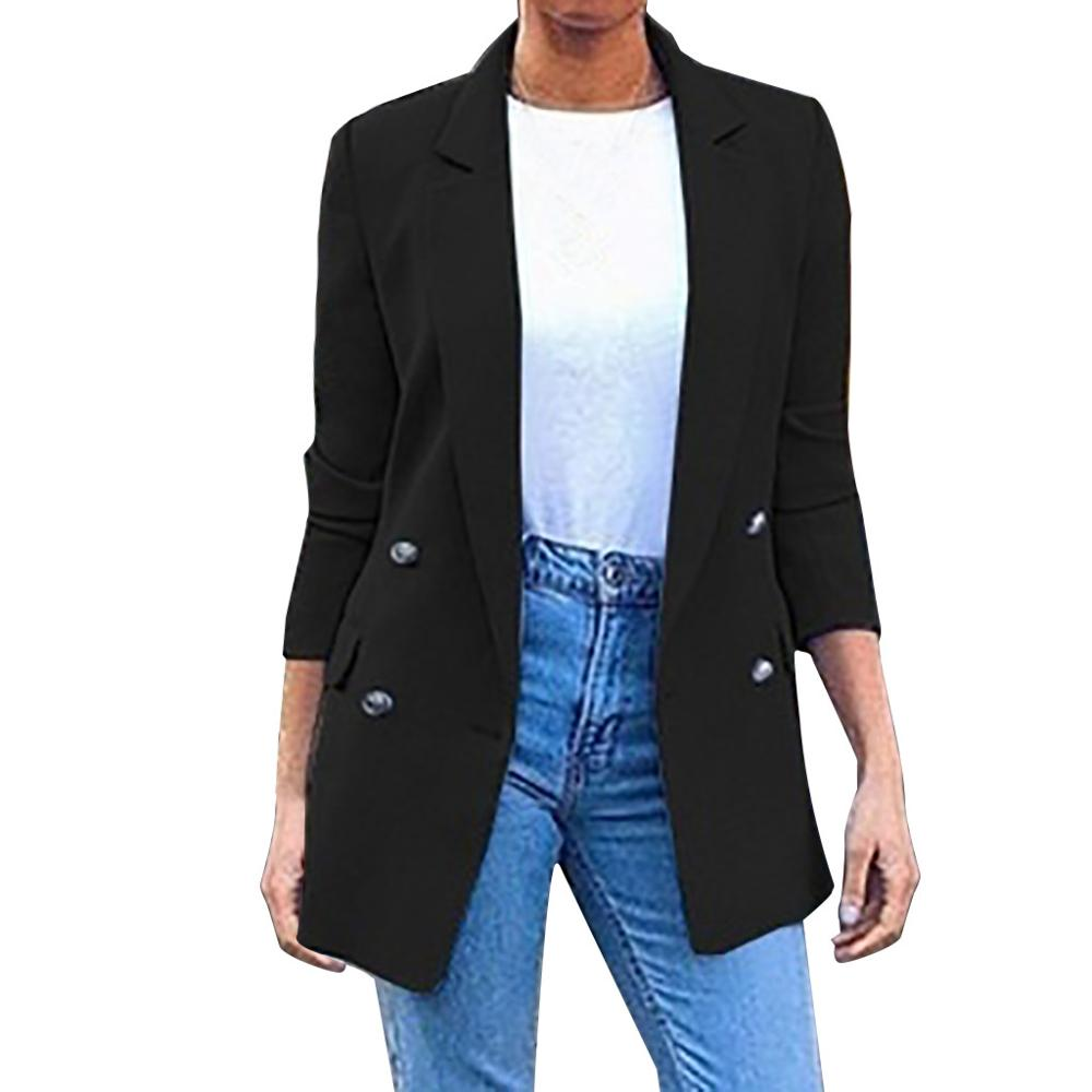2020 Autumn Winter new long-sleeved solid color lapel small suit jacket women's jacket vadim famale jaket Blazer