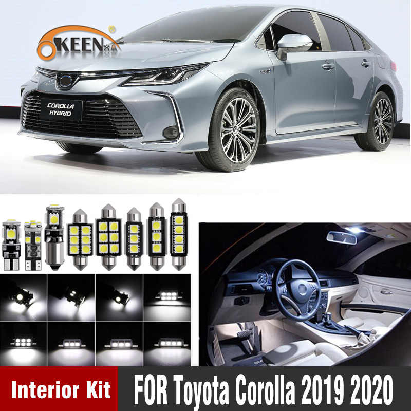 11 Stuks Witte Canbus Led Lamp Auto Interieur Verlichting Voor Toyota Corolla 2019 2020 Auto Interieur Lights Kit Dome Kaart verlichting
