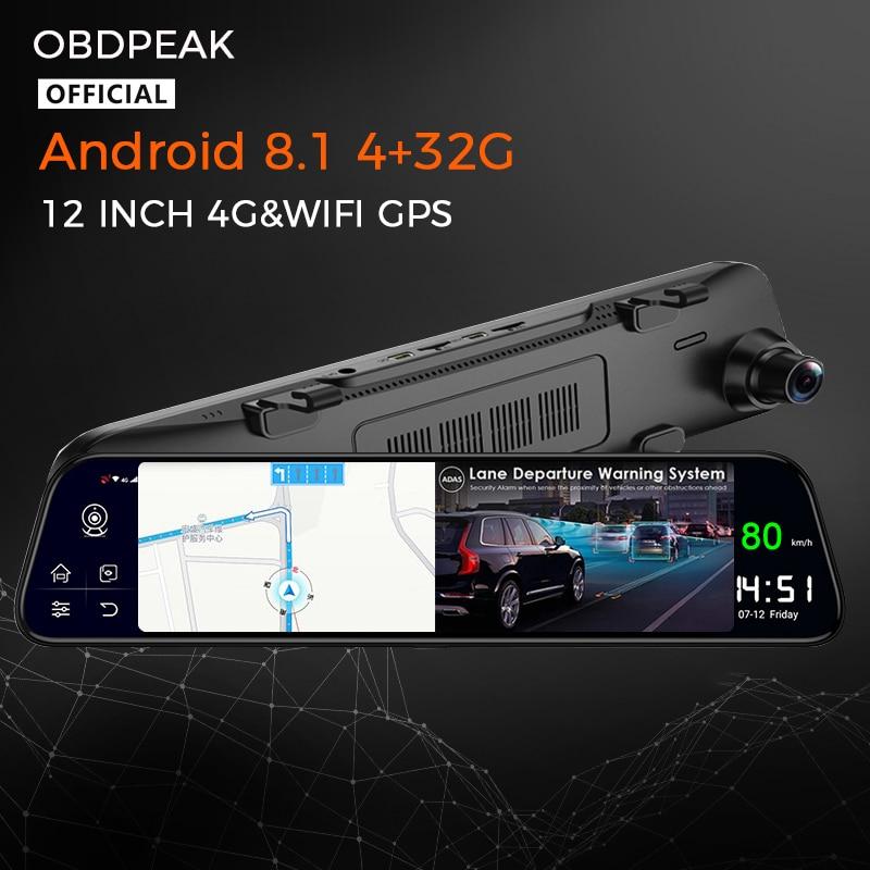 Android зеркало видео Регистраторы для автомобиля, 4 Гб + 32G 12