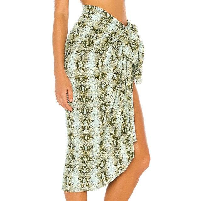 Women Swimsuit Cover Up Printed Mesh Bikini Swimwear Beach Cover-ups Beach Dress Wrap Skirt Парео Для Пляжа 6