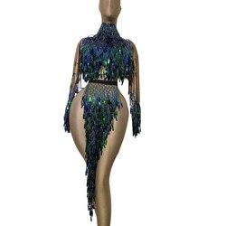 Sexy Quaste Pailletten Tänzerin Bühne Kleid Party Feier Frauen Backless Hohe Slit Nightclub Kleid Showgirl Leistung Kostüme