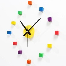 New Wall Clock 3D Colorful Wood DIY Mute Sticker Removable Decal for Bedroom Funny Hot Sale