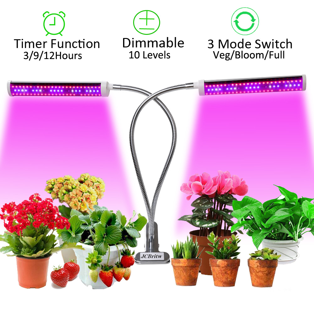 JCBritw 75W Plant Light Dimmable LED Grow Light Auto ON & OFF Timer Dual Head Clip On Full Spectrum Growing Lamp Veg Bloom UV IR