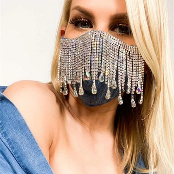Sexy Shiny Rhinestone Tassel Mask Decoration Face Accessories Cover Face Jewelry for Women Wedding Nightclub Decoration