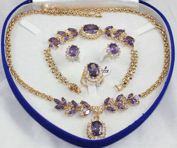 HOT Sell  bridal wedding Jewelry  red /blue/ purple/green/pink  zircon Crystal necklace bracelet earring ring set