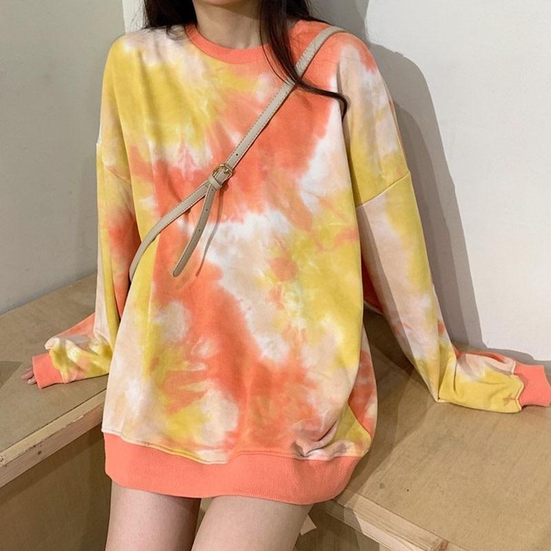 Women Autumn Fashion Tye Dye Shirt Colorful Hoodies Pullover Sweatshirts Tops Loose Comfortable Long-sleeve Shirts Newest 2