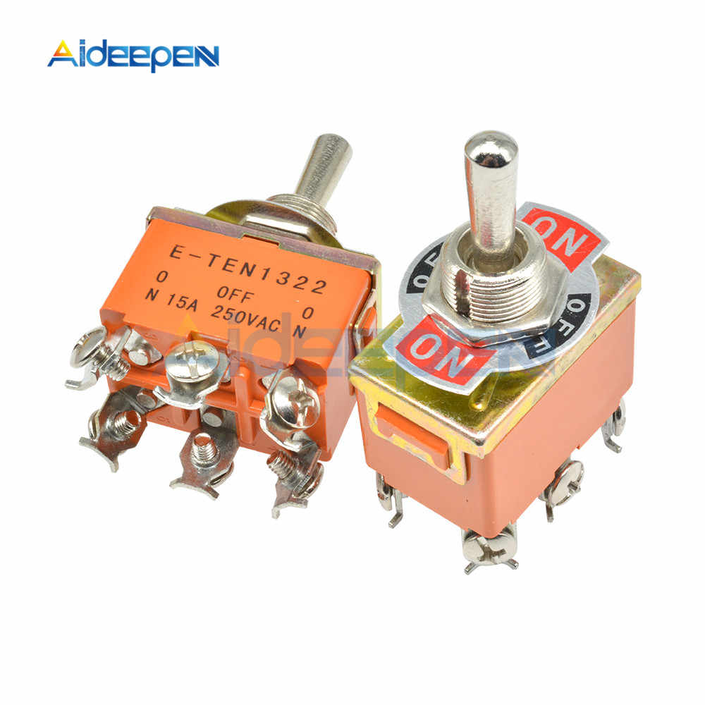 Oranye 6-Pin On-Off-On Toggle Switch 15A 250V 3 Posisi Mini Switch E-TEN1322 Alat kontak Tembaga dengan Tahan Air Cap