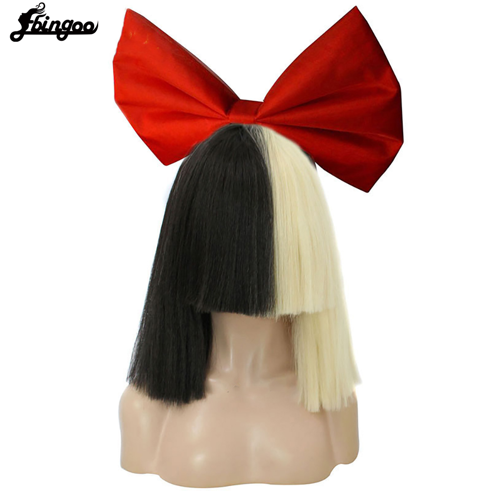 Ebingoo Bowknot + Half Blonde And Black Flat Bangs Sia Straight Yaki Style Synthetic Cospaly Wig For Party +Hair Cap