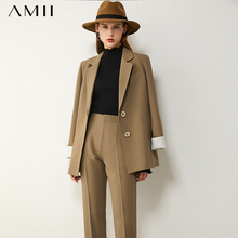 AMII Minimalism Spring Women's Suit Offical Lady Spliced Lapel Single-breasted Suit Coat Solid High Waist Female Pants 12020250