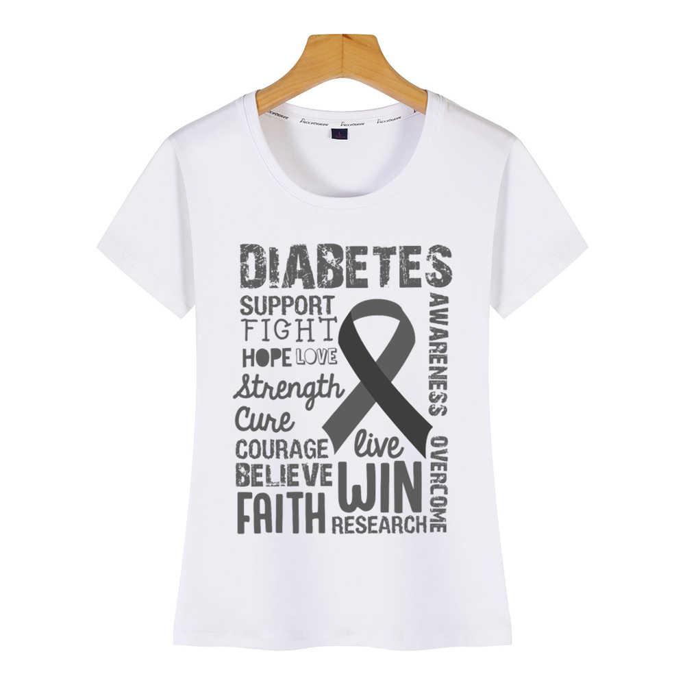 トップス tシャツ女性糖尿病教育サポート月おかしい原宿プリント女性 tシャツ