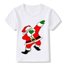Детская футболка с короткими рукавами и круглым воротником с Санта-Клаусом, топ с рисунком на лето, T8