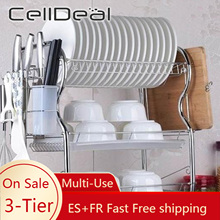 CellDeal 3 Tiers Kitchen Rack Dish Drainer Sink Rack Drip Tray Plates Cutlery Cups Holder Kitchen Storage Rack Kitchen Shelves
