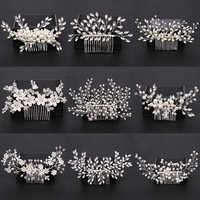 À la mode argent perle cristal mariage cheveux peignes accessoires de cheveux pour mariée fleur casque femmes mariée cheveux ornements bijoux