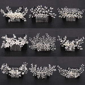Combs Headpiece Jewelry Hair-Accessories Pearl Crystal Wedding-Hair Bridal-Flower Silver-Color