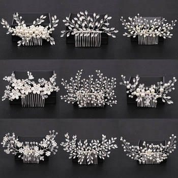 Silver Color Pearl Crystal Wedding Hair Combs Hair Accessories for Bridal Flower Headpiece Women Bride Hair ornaments Jewelry 1