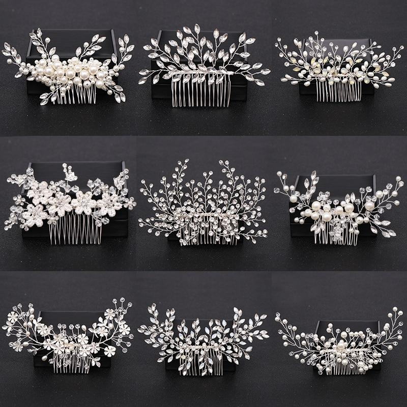 Женский гребень для волос с жемчужинами и кристаллами, серебристого цвета