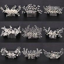 Kolor srebrny perły kryształowe ślubne grzebienie do włosów akcesoria do włosów dla kwiat ślubny chluba kobiety włosy ślubne ozdoby biżuteria