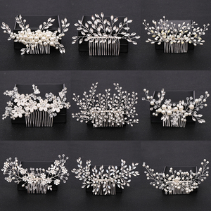 Trendy Silver Pearl Crystal Wedding Hair Combs Hair Accessories for Bridal Flower Headpiece Women Bride Hair ornaments Jewelry(China)