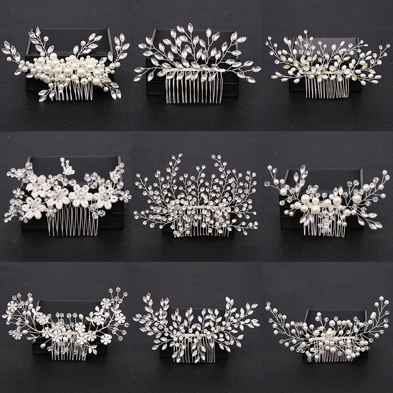 Trendy Silver Pearl Crystal <font><b>Wedding</b></font> <font><b>Hair</b></font> Combs <font><b>Hair</b></font> <font><b>Accessories</b></font> <font><b>for</b></font> Bridal Flower <font><b>Headpiece</b></font> Women Bride <font><b>Hair</b></font> ornaments Jewelry image