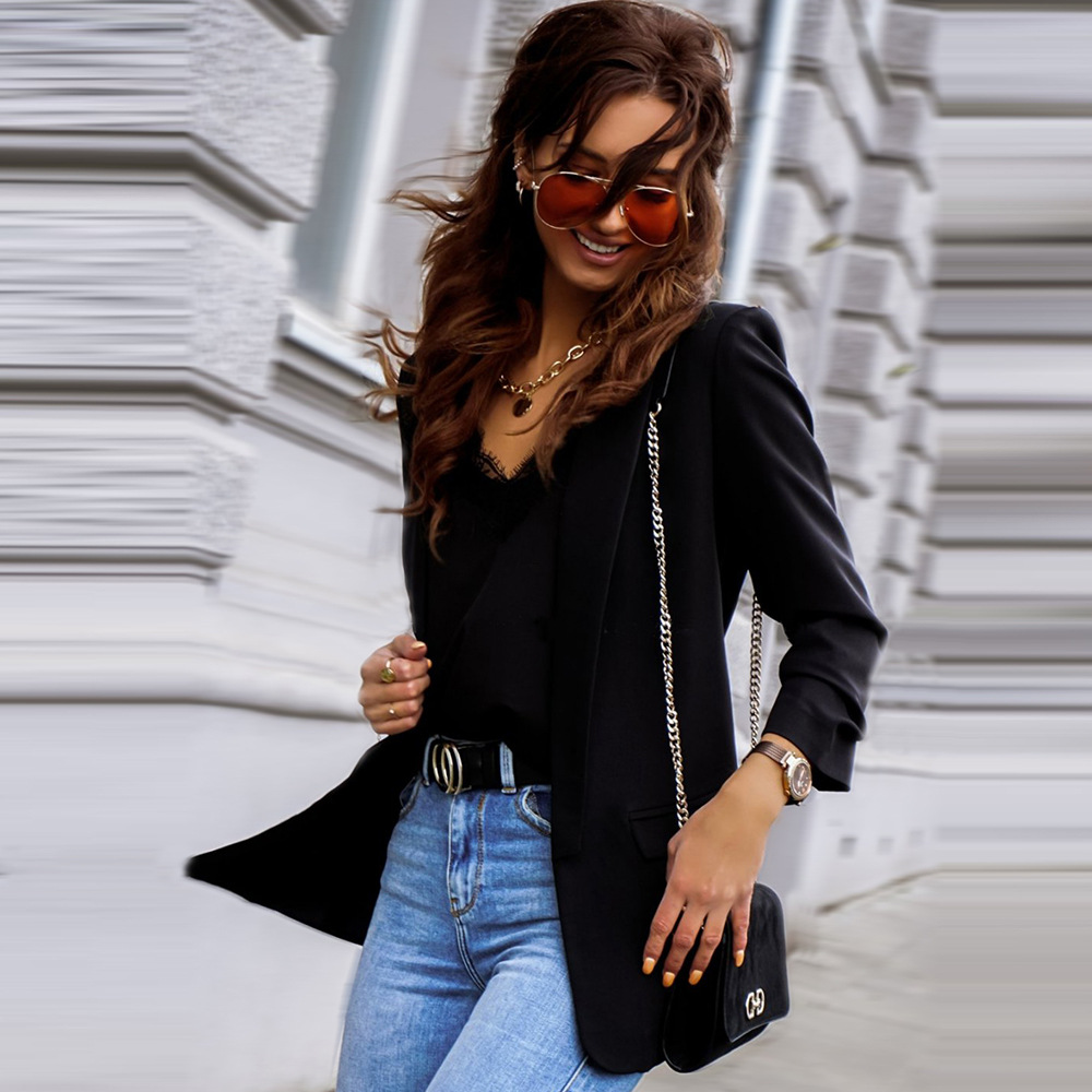 2020 NEW Women's Autumn Blazers Business Coat Top Loose Solid Color Casual Lapel Neck Fall Long Sleeve Clothes