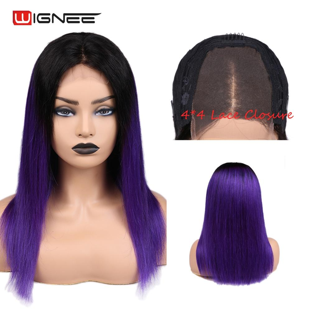 Wignee 4*4 Lace Closure Straight Human Wig For Black/White Women Brazilian Hair Ombre Purple Glueless Middle Part