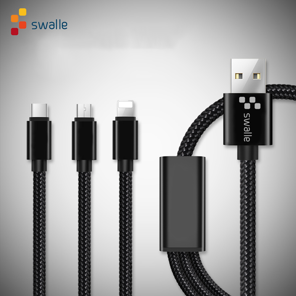 Swalle <font><b>3</b></font> <font><b>in</b></font> <font><b>1</b></font> USB <font><b>Cable</b></font> for iPhone xr Android Charging <font><b>Cable</b></font> Micro Charger Cord for Mobile Phone Micro USB Type C Charger <font><b>Cable</b></font> image