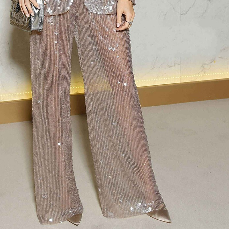 Euro Runway Women Sexy Transparent Glitter Casual Blazer Pants Suit High Quality Sequins Loose Office Ladies Party Outfits Sets