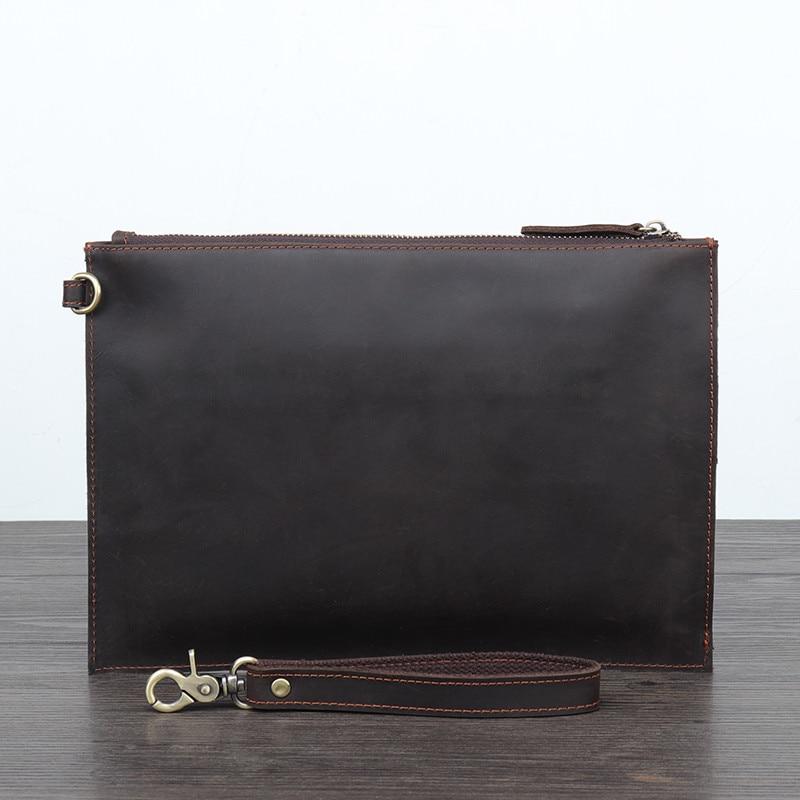 PNDME crazy horse en cuir pour hommes pochette simple vintage en cuir véritable sac de téléphone designer portefeuille sac de rangement sac à main de luxe - 2