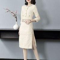 Elegant Autumn Tweed Dress Women Diamonds Slim Fit Wrap Twill Dresses Office Ladies Brand Vintage Bodycon Crystal Party Dress