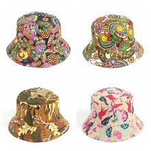 Cross-border electricity selling printed fisherman caps ins flat outdoor POTS hat shading summer travel caps