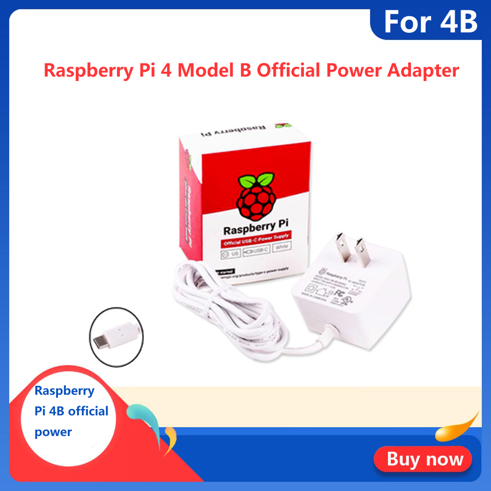 Original Raspberry Pi 4 Model B Official Power Adapter 5.1V 3A For Raspberry Pi 4 USB Type-C Power Charger EU US UK Plug Supply