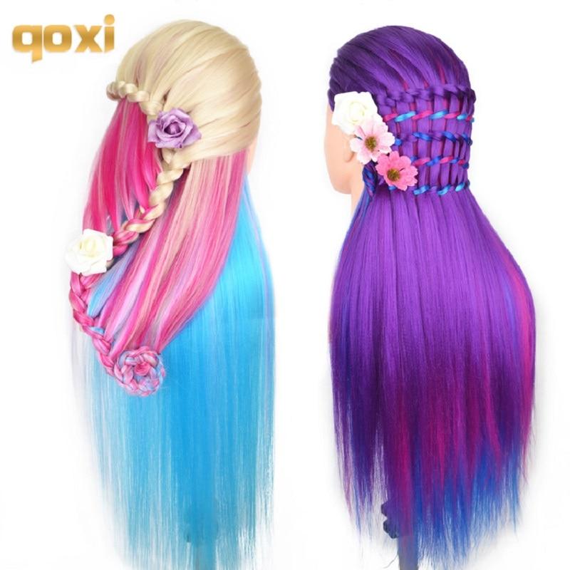 Головы манекена Qoxi с 65 см, волосы для плетения, манекен, голова манекена для парикмахерской практики, укладки волос