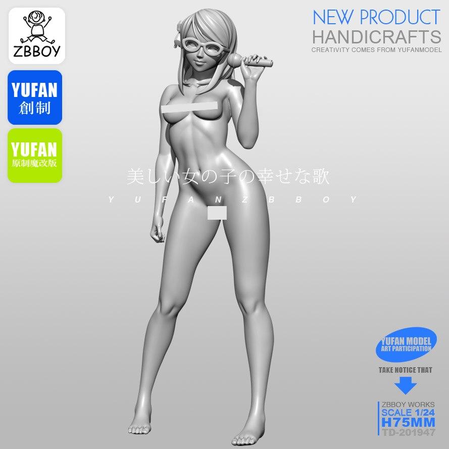1/24 Resin Kits Beautiful Girl Resin Soldier Self-assembled TD-201947