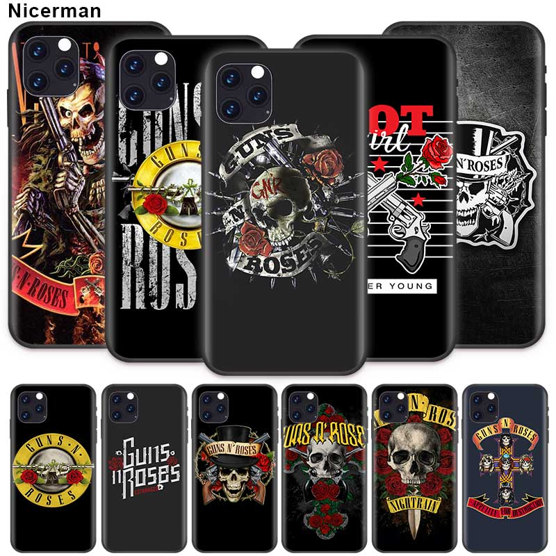 Guns n roses Case for Apple iPhone 11 X XR XS Max 7 8 6 6S Plus 5 5S SE 5C Black Silicone Cobrir Alternative Phone Taschen Coque